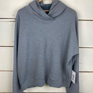 Zyia gray hoodie texture sweatshirt XL